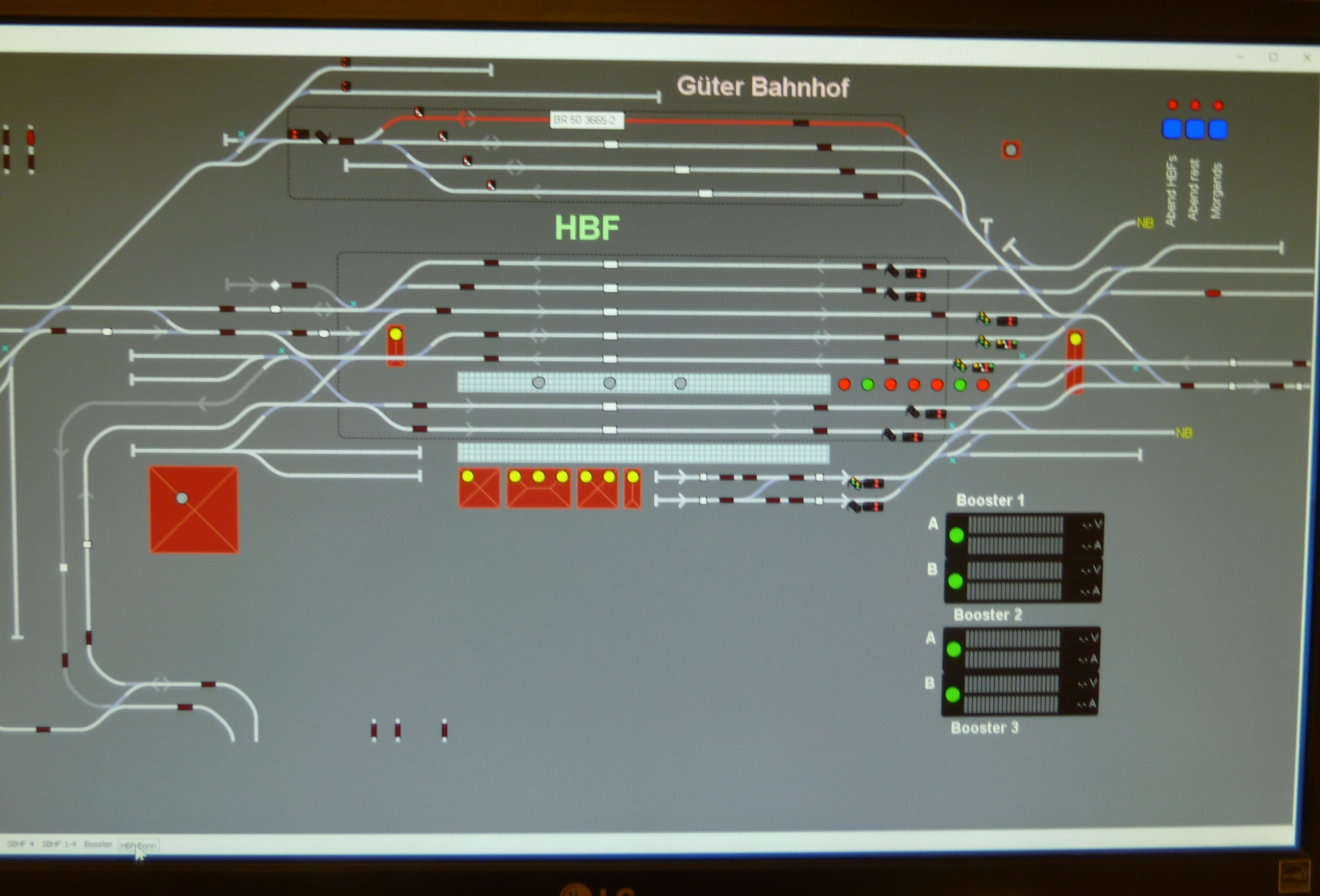 "4. Monitor, Gleisbild ""Hbf Bonn"""