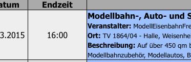Modellbahn Termin Kalender