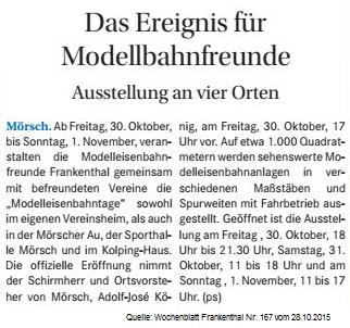 Wochenblatt Frankenthal Nr. 167 vom 28-10-2015